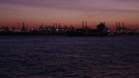 Container ship at port of Hamburg Footage