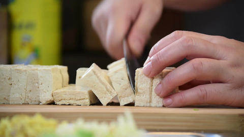 Slicing Tofu For Chinese Cooking Recipe Footage