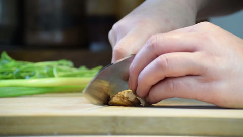 Finely Chopping Ginger For Cooking Footage