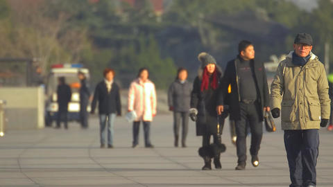 People walking in the park at The Bund, Shanghai Footage