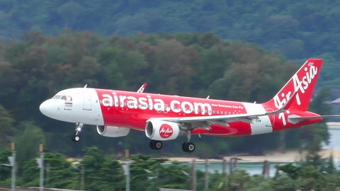 Airasia Airbus A-320 approaching to airport Footage