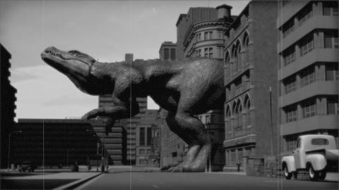Vintage Monster: Giant Dinosaur in the City (Black and White) CG動画素材