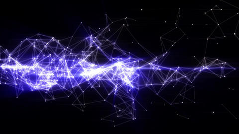 Organic blue lines energy in motion - Seamless loop, dark background Animation