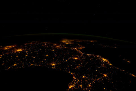 Ungraded: Spain to Germany at Night Footage