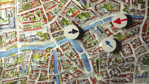 Plan police actionon the map Brugge Footage