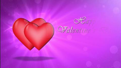 Two lovers hearts. Happy Valentine's Day. 3D animation