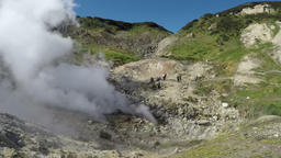 Natural volcanic hot springs emission clouds of hot gas and steam Footage
