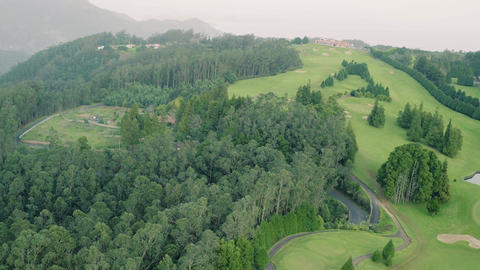 Aerial View of the Golf Course in Mountains Footage