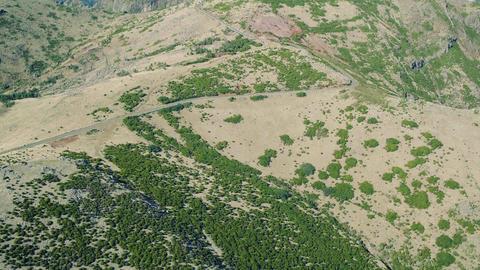 Aerial View Road on Hillside Footage