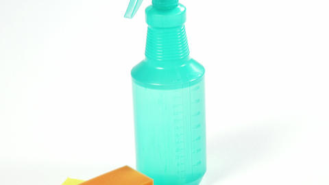 Cleaning sponge and spray bottle Footage