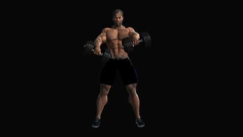 Alpha channel, Male athlete pumps up the muscles with dumbbells ,loop, animation Footage