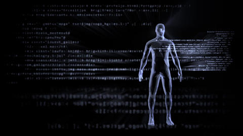 Artificial intelligence cyborg reads digital data Animation