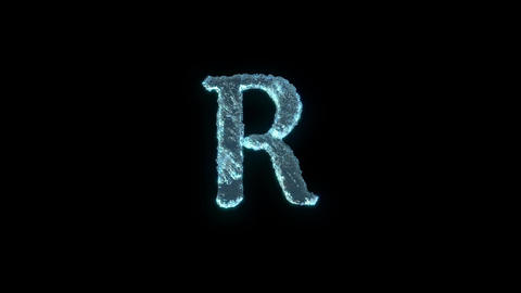 The Letter R Of Ice Isolated On Black With Alpha Matte Animation