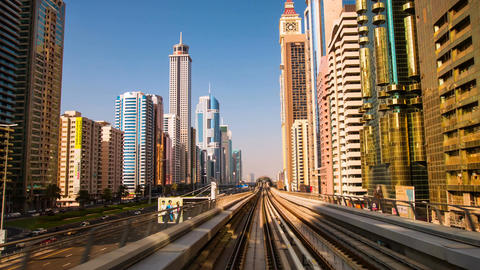 DUBAI, UAE - SEPTEMBER 21, 2014: Dubai Metro. Timelapse view of the city from th Footage