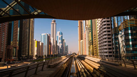 DUBAI, UAE - SEPTEMBER 21, 2014: Dubai Metro. Timelapse... Stock Video Footage