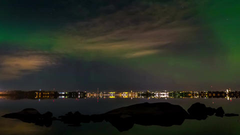 Aurora borealis over city Footage