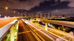 Motorway junction night view (Koutou-ku tokyo japan) Footage