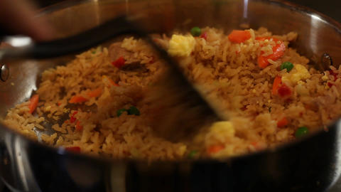 Cooking Fried Rice at home Stock Video Footage