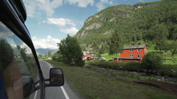 Driving through a Norwegian village Footage