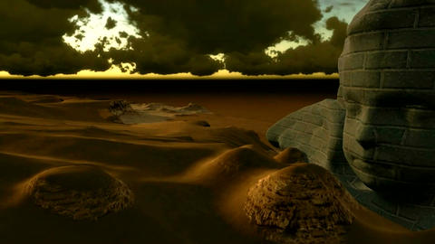 Futuristic Environment. Camera flies past pyramid and the old boat in the desert Animation