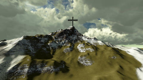 The cross on top of snowy mountain Animation