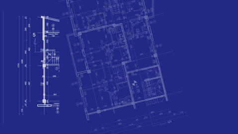 abstract architecture background: blueprint house plan… Stock Video Footage