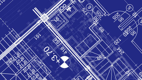 abstract architecture background: blueprint house plan... Stock Video Footage