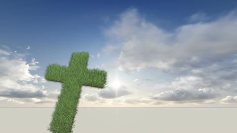 cross made from grass Animation