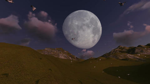 scene of flying birds with mountain and moon in background Animation