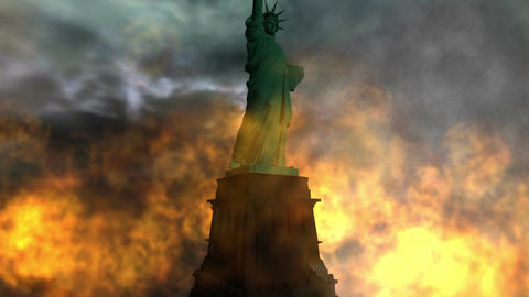 Digital Animation of a burning Statue of Liberty Animation