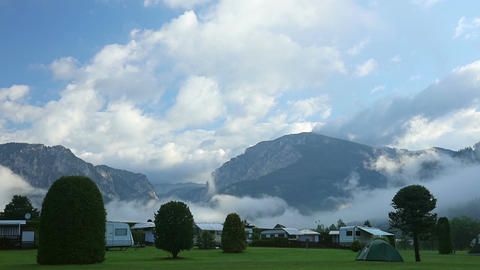 Camping in the Valley of the Mountains, the Morning Mist and Clouds Footage