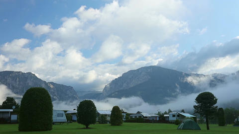 Camping in the Valley of the Mountains, the Morning Mist... Stock Video Footage