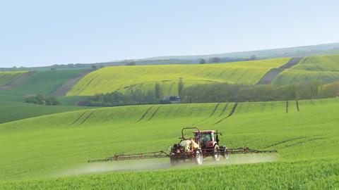 Tractor Spraying Fertilizer on Spring Field Footage