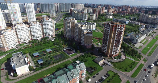 Aerial Architecture, Streets Roads and apartments in Moscow GIF 動畫