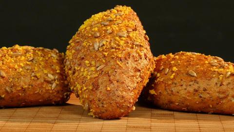 11794 german bread dolly around spelt chia bun 4k Footage