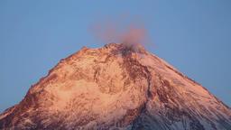 Beautiful top of Kamen Volcano with beautiful rocky peaks... Stock Video Footage