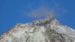 Beautiful rocky peaks of Kamen Volcano on sunny day and blue sky Footage