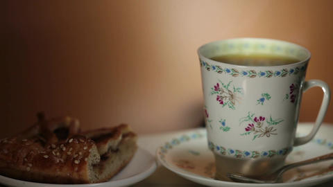 cup with hot tea and steam on background Footage