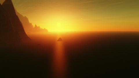 Aerial timelapse 3D animation showing a landscape of an exoplanet with Earth-lik