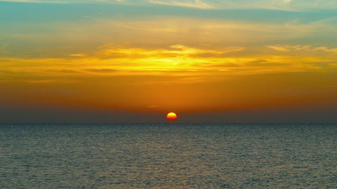 beauty landscape with sunrise over sea, zoom in Footage