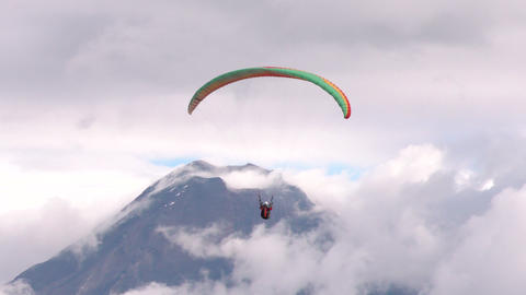 tandem paragliding against Tungurahua volcano Footage