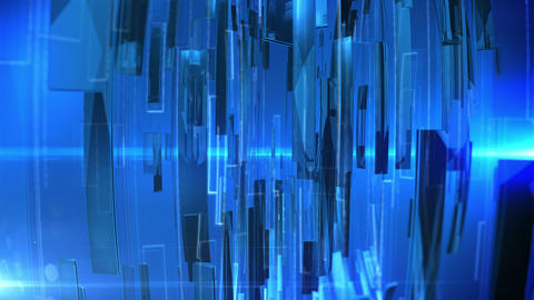 Abstract Technology Background with lens flare. Blue colors Animation