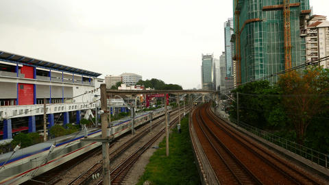Three different railway transportation systems in KL, time lapse shot Footage
