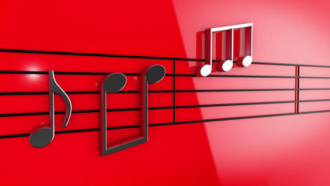Animation of Music notes on staves Animation