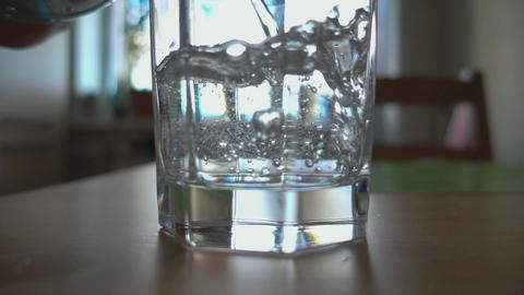 Sparkling water poured in a glass Footage