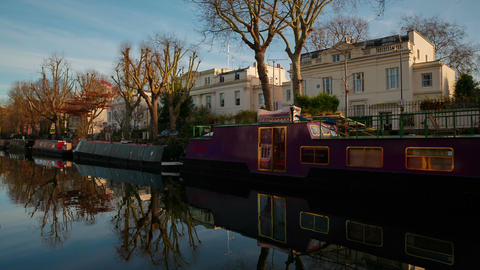 Establishing shot of the Little Venice canal area in London, England, UK Footage