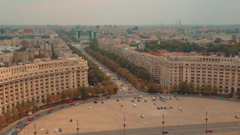 Static shot showing the Parliament Square and Liberty Avenue in Bucharest, Roman Footage