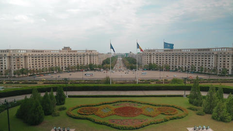 Establishing shot of the city of Bucharest in Romania, showing the Parliament Sq Footage