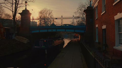 POV gimbal walk through the quaint canals of the Little Venice area in London, E Footage