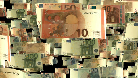 The Falling Euro - Background animation with falling Euro banknotes in slow moti Animation